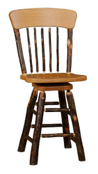 "Rustic Hickory Panel Back Swivel Bar Stool 24"" or 30"""