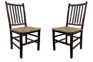 Set of  2 Hickory Dining Chairs with Hickory Seat- Spindle Back