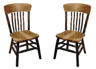 Set of 2 Rustic Hickory & Oak Dining Chair with Panel Back