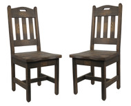 Set of 2 Barnwood Dining Chairs Handle Back Multi-Color Stains Available