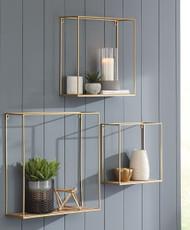 Efharis Natural/Gold Finish Wall Shelf Set (3/CN)