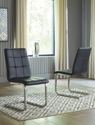 Madanere Black/Chrome Finish Dining UPH Side Chair