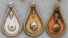 East Indian Metal Charm/Drop, Teardrop-Fancy, 37mm, copper, (4 pieces)