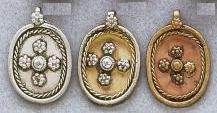 East Indian Metal Charm/Drop, 32mm, raw brass, oval with cross pattern, (4 pieces)