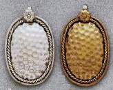 East Indian Metal Charm/Drop, Oval Disc dapped, 40mm, raw brass, (6 pieces)