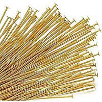 "Head Pin, Gold Plate, 1 1/4"", Regular Thickness, 20 gauge, (1/4 oz - apprx 51 pc)"