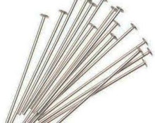 "Head Pin, Immitation Rhodium Plate (Nickel Color), 2"", Regular Thickness, 20 gauge, (1/4 oz - apprx 38 pc)"