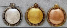 East Indian Metal Charm/Drop, Dapped Round, Medium, 30mm, copper, (6 pieces)