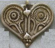 East Indian Metal Charm/Drop, Heart-Large, 52mm, silver plated, (1 piece)