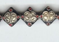 Enamel Bead Diamond 13mm, Oriental Metal Bead, (4 beads)