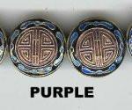 Enamel Bead Flat, 20mm, Purple, Oriental Metal Bead, (4 beads)