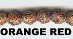 Enamel Bead Star, 8mm, Red, Oriental Metal Bead, (8 beads)