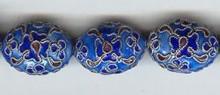 Enamel Bead Flat, 14x20mm, Oriental Metal Bead, (4 beads)