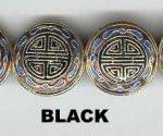 Enamel Bead Flat, 20mm, Black, Oriental Metal Bead, (4 beads)