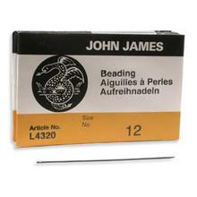 English Beading Needles, Size 12, regular length, (package of 25)