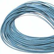 Leather, European (Greek), Round Cord, 1.5mm, Light Blue, 50-meter skein, (1 skein)