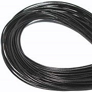 Leather, European (Greek), Round Cord, 2.0mm, Black, 5-meters, (5-meters length)