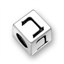 5.5mm (4mm hole) Sterling Silver Hebrew Letter Cube, BET, (1 bead)