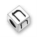 5.5mm (4mm hole) Sterling Silver Hebrew Letter Cube, CHET, (1 bead)
