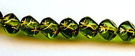 7mm Glass Diagonal Cube Bead with Magic Star, Czech Glass, olivine/gold, (50 beads)