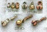 Clacker, Clam Style, Medium to Large w/Extender, 6-8mm bell, brass, (25 pieces)