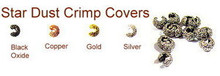 Gunmetal-Plated (Black Oxidized), Star Dust Crimp Cover for Crimp Beads, 4mm, Medium, (12 Star Dust Crimp Covers)
