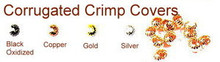 Gunmetal-Plated (Black Oxidized), Corrugated Crimp Cover for Crimp Beads, 4mm, Medium, (12 Corrugated Crimp Covers)