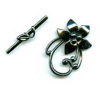 Toggle Clasp, Pewter, gunmetal, Deco Flower, Medium, 30x22mm (14mm center), (1 clasp set)