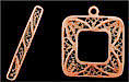 Toggle Clasp, Pewter, antique copper plate, Filigree Square, Medium, 11mm (clasp is 25mm long), (1 clasp set)
