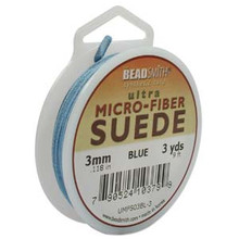 Ultra Micro Fiber Suede Lace, 3.0mm x 1.0mm, Blue, (3-yard spool)