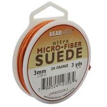 Ultra Micro Fiber Suede Lace, 3.0mm x 1.0mm, Dark Orange, (3-yard spool)