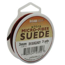Ultra Micro Fiber Suede Lace, 3.0mm x 1.0mm, Dark Burgundy, (3-yard spool)
