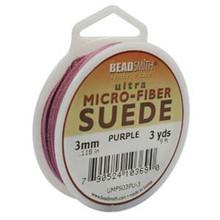 Ultra Micro Fiber Suede Lace, 3.0mm x 1.0mm, Purple, (3-yard spool)