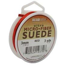 Ultra Micro Fiber Suede Lace, 3.0mm x 1.0mm, Red, (3-yard spool)