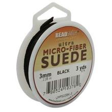 Ultra Micro Fiber Suede Lace, 3.0mm x 1.0mm, Black, (3-yard spool)