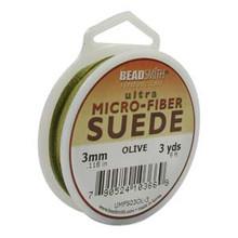 Ultra Micro Fiber Suede Lace, 3.0mm x 1.0mm, Olive, (3-yard spool)