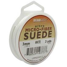 Ultra Micro Fiber Suede Lace, 3.0mm x 1.0mm, White, (3-yard spool)