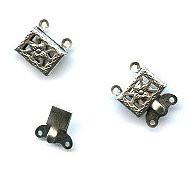 Antique Silver (over brass), Rectangle Filigree, Push-Pull Clasp, 14x11mm, 2-strand, (1 two-part clasp set)