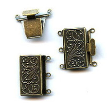 Vintage Bronze (brass oxidized), Rectangle Push-Pull Clasp, 23x21mm, 3-strand, (1 two-part clasp set)