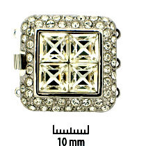 Rhodium Plate, Four Square, Push-Pull Clasp, with Rhinestones (crystal), 3-strands, 27x27mm, (1 clasp)