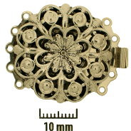 Rhodium Plate, Old Palladium Color, Filigree Rounder, Push-Pull Box Clasp, 5-strand, 26mm, (1 clasp)