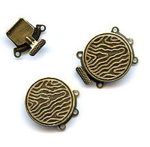 Vintage Bronze (brass oxidized), Round Push-Pull Clasp, 24x19mm, 3-strand, (1 two-part clasp set)