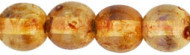 4mm Round Druk, Czech Glass, beige diffusion (same as crystal diffusion), (100 beads)