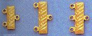 End Bar, Gold Plated over Brass, 18mm, 3-row, 3mm space between loops, (12 pieces)