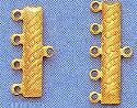 End Bar, Gold Plated over Brass, 22mm, 4-row, 3mm space between loops, (12 pieces)