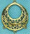 """Earring Filigree and Chandelier Component, Gold Plate, over brass, Spanish, 1 1/8"""", (10 pieces)"""