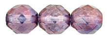 4mm Round Fire Polish Bead, Czech Glass, amethyst luster, (100 beads)