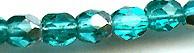 4mm Round Fire Polish Bead, Czech Glass, aqua green/silver, (100 beads)