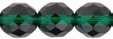 4mm Round Fire Polish Bead, Czech Glass, emerald, (100 beads)