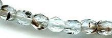 4mm Round Fire Polish Bead, Czech Glass, tortoise crystal, (100 beads)